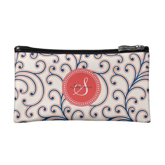 Elegant girly orange blue floral pattern monogram makeup bag