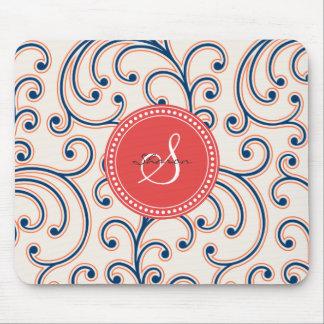 Elegant girly orange blue floral pattern monogram mouse pad