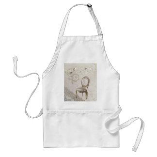 elegant girly pearl swirls lace floral paris adult apron