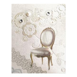 elegant girly pearl swirls lace floral paris letterhead