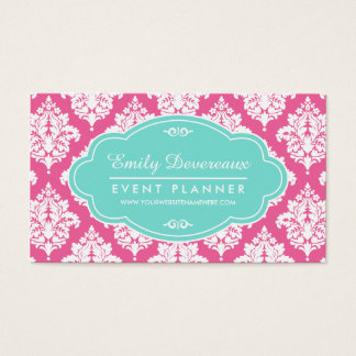 Elegant Girly Pink Damask Personalized Business Card