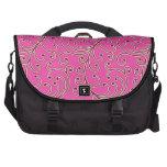 Elegant girly pink floral pattern monogram laptop commuter bag