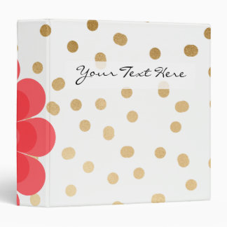 elegant girly pink flower gold polka dots pattern 3 ring binder