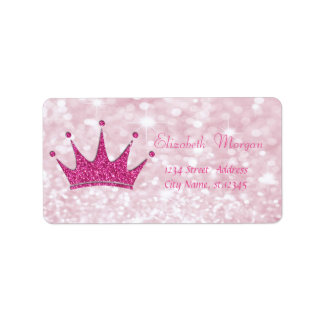 Elegant Girly  Pink Glittery,Bokeh, Tiara Label