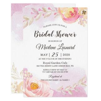 Elegant Girly Pink Gold Rose Garden Bridal Shower Card