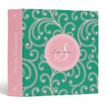 Elegant girly pink green floral pattern monogram 3 ring binder