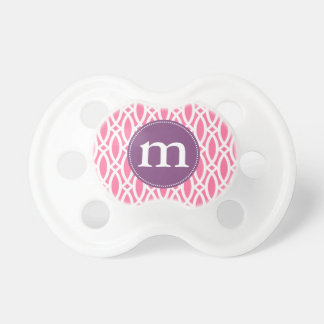 Elegant Girly Pink Modern Trellis Personalized Pacifier