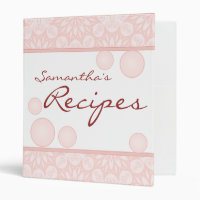 Elegant girly pink recipe book 3 ring binder