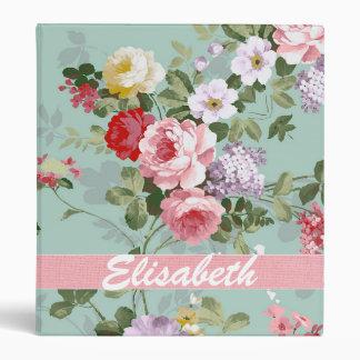 Elegant Girly Pink Red Roses Monogram Binder