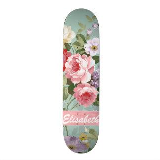 Elegant Girly Pink Red Roses Monogram Custom Skate Board