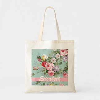 Elegant Girly Pink Red Roses Monogram Tote Bag