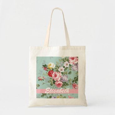 kicksdesign Elegant Girly Pink Red Roses Monogram Tote Bag