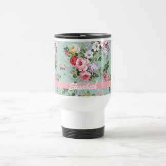 Elegant Girly Pink Red Roses Monogram Travel Mug
