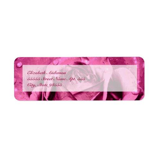 Elegant Girly Pink Rose Return Address Labels