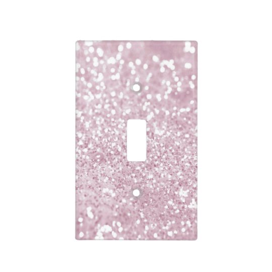 Elegant Girly Pink White Faux Glitter Light Switch Cover