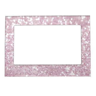Elegant Girly Pink White Faux Glitter Magnetic Picture Frame