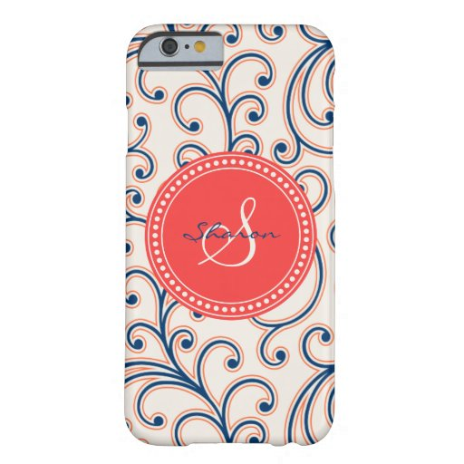 Elegant girly red blue floral pattern monogram iPhone 6 case