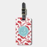 Elegant girly red floral pattern monogram bag tag