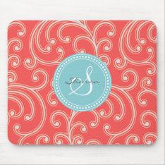 Elegant Girly Red Floral Pattern Monogram Mouse Pad at Zazzle