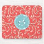 Elegant girly red floral pattern monogram mouse pad