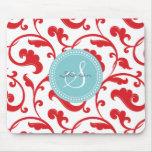 Elegant girly red floral pattern monogram mousepad