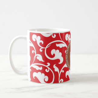 Elegant girly red floral pattern monogram classic white coffee mug
