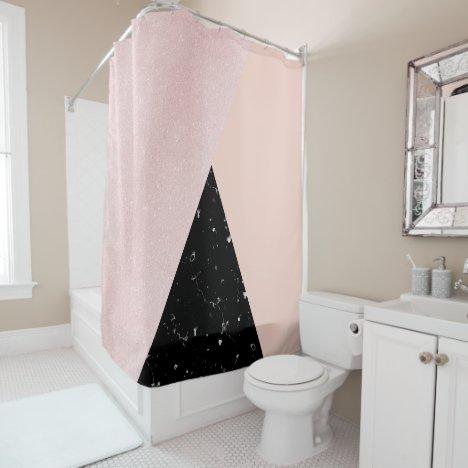 Elegant girly rose gold glitter & back marble shower curtain