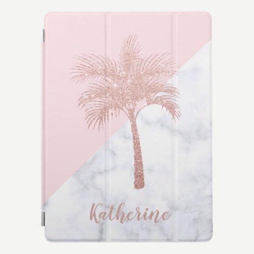 Elegant girly rose gold glitter palm white marble iPad pro cover