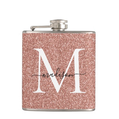 Elegant Girly Rose Gold Glitter Sparkle Monogram Flask