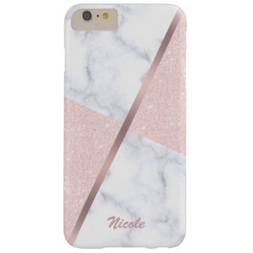 Elegant girly rose gold glitter & white marble barely there iPhone 6 plus case
