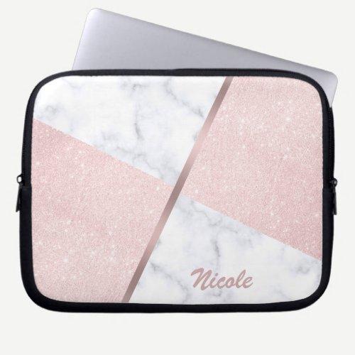 Elegant girly rose gold glitter & white marble laptop sleeve