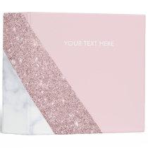 elegant girly rose gold glitter white marble pink 3 ring binder