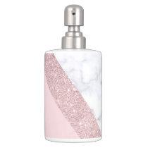 elegant girly rose gold glitter white marble pink bathroom set