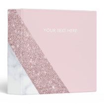 elegant girly rose gold glitter white marble pink binder