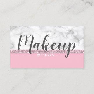 Elegant girly rose gold glitter white marble pink business card