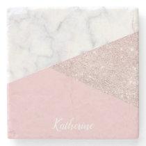 Elegant girly rose gold glitter white marble pink stone coaster