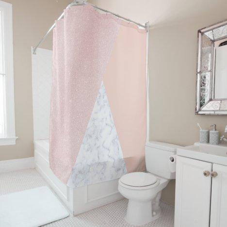 Elegant girly rose gold glitter & white marble shower curtain