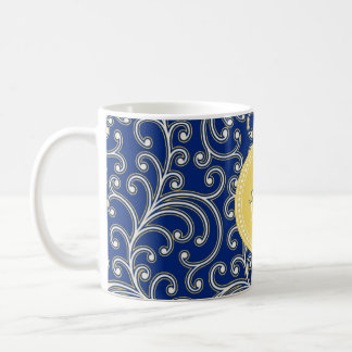 Elegant girly royal blue floral pattern monogram classic white coffee mug