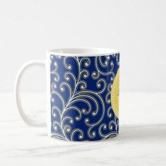 Elegant girly royal blue floral pattern monogram coffee mug
