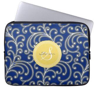 Elegant girly royal blue floral pattern monogram computer sleeve