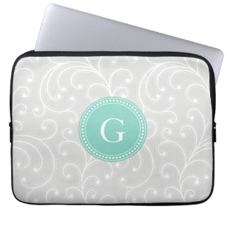 Elegant girly silver floral pattern monogram laptop computer sleeves