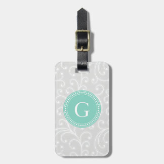 Elegant girly silver floral pattern monogram bag tags