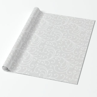 Elegant girly silver floral pattern monogram gift wrapping paper