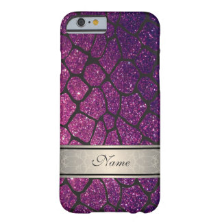 Elegant girly trendy glittery giraffe personalized barely there iPhone 6 case