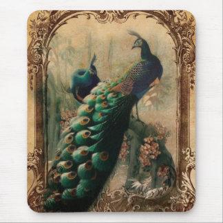 elegant girly vintage peacock swirls paris fashion mousepad