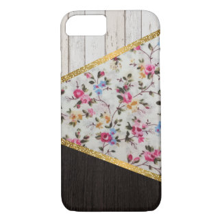 Elegant girly vintage roses  floral gold glitter iPhone 8/7 case
