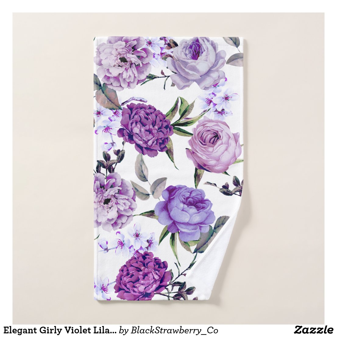 Elegant Girly Violet Lilac Purple Flowers Hand Towel