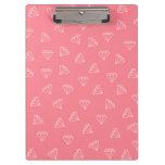 elegant girly white diamonds pattern pastel pink clipboard