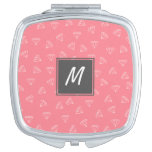 elegant girly white diamonds pattern pastel pink compact mirror