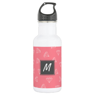elegant girly white diamonds pattern pastel pink water bottle